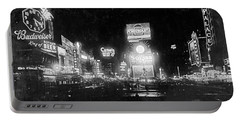 Portable Battery Charger featuring the photograph Vintage Times Square At Night Black And White by John Stephens