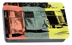 Portable Battery Charger featuring the painting Sarasota Series Vintage Trailer Park Pop Art by Edward Fielding