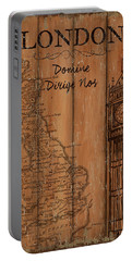 Vintage Travel London Portable Battery Charger by Debbie DeWitt