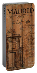 Portable Battery Charger featuring the painting Vintage Travel Madrid by Debbie DeWitt