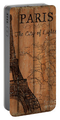 Portable Battery Charger featuring the painting Vintage Travel Paris by Debbie DeWitt
