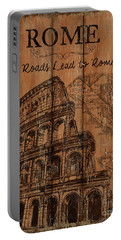 Portable Battery Charger featuring the painting Vintage Travel Rome by Debbie DeWitt
