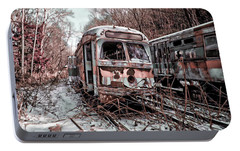 Portable Battery Charger featuring the photograph Vintage Trolley Streetcars by Suzanne Stout