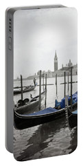 Vintage Venice In Black, White, And Blue Portable Battery Charger