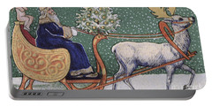 Vintage Victorian Depicting Father Christmas On His Sleigh Portable Battery Charger