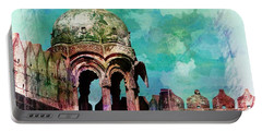 Vintage Watercolor Gazebo Ornate Palace Mehrangarh Fort India Rajasthan 2a Portable Battery Charger