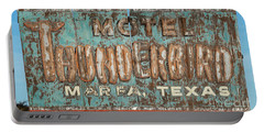 Portable Battery Charger featuring the photograph Vintage Weathered Thunderbird Motel Sign Marfa Texas by John Stephens