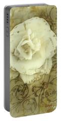 Vintage White Flower Art Portable Battery Charger