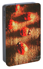 Vintage Wooden Ladybugs Portable Battery Charger by Jorgo Photography - Wall Art Gallery