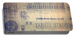 Vintage Yankee Stadium Blueprint Signed By Joe Di Maggio Portable Battery Charger by Peter Gumaer Ogden Collection