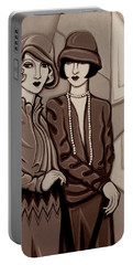 Violet And Rose In Sepia Tone Portable Battery Charger by Tara Hutton