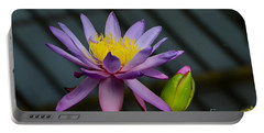 Violet And Yellow Water Lily Flower With Unopened Bud Portable Battery Charger