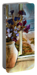 Portable Battery Charger featuring the painting Violet Beach Flowers by Winsome Gunning