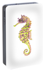 Violet Green Seahorse - Square Portable Battery Charger by Amy Kirkpatrick