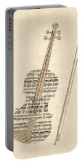 Violin Old Sheet Music Portable Battery Charger