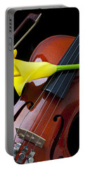 Violin With Yellow Calla Lily Portable Battery Charger
