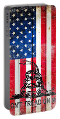 Viper On American Flag On Old Wood Planks Vertical Portable Battery Charger