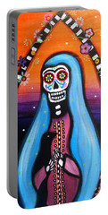 Portable Battery Charger featuring the painting Virgen Guadalupe Muertos by Pristine Cartera Turkus