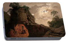 Portable Battery Charger featuring the painting Virgil's Tomb By Moonlight With Silius Italicus Declaiming by Joseph Wright of Derby