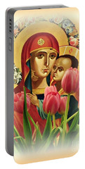 Virgin Mary And Tulips      Portable Battery Charger by Sarah Loft
