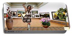 Virtual Exhibition - A Girl With A Pairro Dress Portable Battery Charger by Danail Tsonev