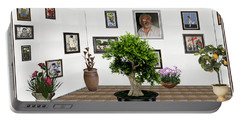 Portable Battery Charger featuring the mixed media Virtual Exhibition -  Bonsai 13 by Pemaro