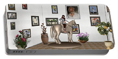Portable Battery Charger featuring the mixed media Virtual Exhibition Horsewoman 13 by Pemaro