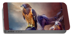 Portable Battery Charger featuring the mixed media Vision Of The Hawk 2 by Carol Cavalaris