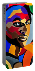 Visionaire, Abstract Male Face Portrait Painting - Illusion Abstract Artwork - Chromatic Portable Battery Charger