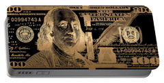 One Hundred Us Dollar Bill - $100 Usd In Gold On Black Portable Battery Charger
