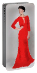 Portable Battery Charger featuring the digital art Vivienne by Nancy Levan