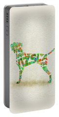Portable Battery Charger featuring the painting Vizsla Watercolor Painting / Typographic Art by Inspirowl Design
