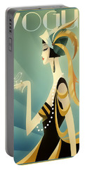 Portable Battery Charger featuring the digital art Vogue - Bird On Hand by Chuck Staley