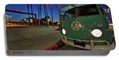 Volkswagen Bus At The Imperial Beach Pier Portable Battery Charger by Sam Antonio Photography