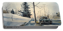 Volkswagen Karmann Ghia On Snowy Road Portable Battery Charger