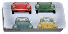 Volkswagen Type 1 - Variety Of Volkswagen Beetle On Vintage Background Portable Battery Charger