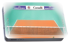 Portable Battery Charger featuring the digital art Volleyball Court by Darren Cannell