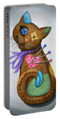 Portable Battery Charger featuring the painting Voodoo Cat Doll - Patchwork Cat by Carrie Hawks