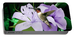 Portable Battery Charger featuring the mixed media Voyage Hummingbird by Marvin Blaine
