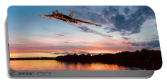 Portable Battery Charger featuring the digital art Vulcan Low Over A Sunset Lake by Gary Eason
