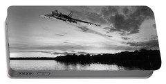 Portable Battery Charger featuring the digital art Vulcan Low Over A Sunset Lake Sunset Lake Bw by Gary Eason