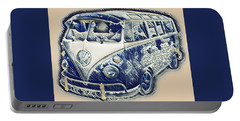 Vw Camper Van Waves Portable Battery Charger by John Colley