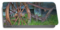 Portable Battery Charger featuring the photograph Wagon Wheel And Fence by David and Carol Kelly