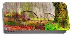 Wagon Wheels And Autumn Leaves Portable Battery Charger