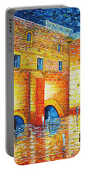 Portable Battery Charger featuring the painting Wailing Wall Original Palette Knife Painting by Georgeta Blanaru