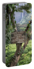 Portable Battery Charger featuring the photograph Waipio Valley Road Rules by Susan Rissi Tregoning