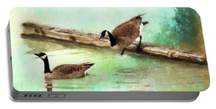 Portable Battery Charger featuring the painting Wait For Me - Wildlife Art by Jordan Blackstone