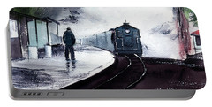 Portable Battery Charger featuring the painting Waiting by Anil Nene