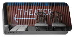 Corrugated Metal Theater Sign Portable Battery Charger