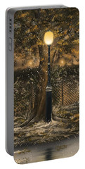 Portable Battery Charger featuring the painting Waiting For The Snow by Veronica Minozzi